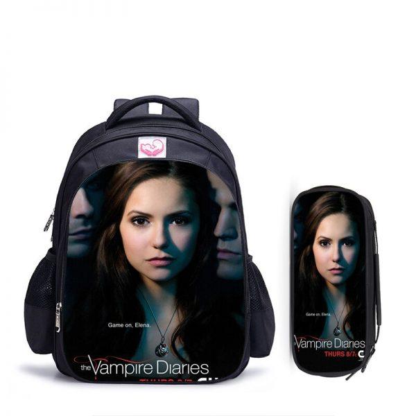 16 Inch Vampire Diaries School Bag for Kids Boys Girls Orthopedic Backpack Children School Sets Pencil - Vampire Diaries Merch