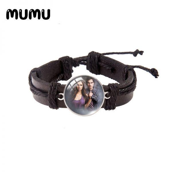 2021 New The Vampire Diaries Leather Bracelet TV Series Glass Dome Bracelets Handmade Jewelry Gifts Men 1 - Vampire Diaries Merch