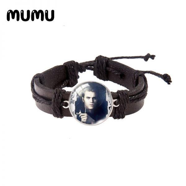 2021 New The Vampire Diaries Leather Bracelet TV Series Glass Dome Bracelets Handmade Jewelry Gifts Men 2 - Vampire Diaries Merch