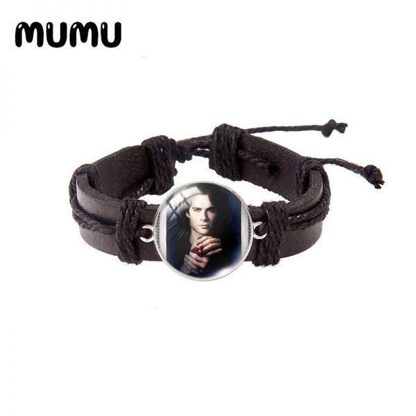 2021 New The Vampire Diaries Leather Bracelet TV Series Glass Dome Bracelets Handmade Jewelry Gifts Men 4 - Vampire Diaries Merch