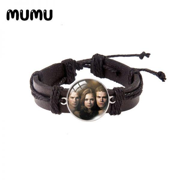 2021 New The Vampire Diaries Leather Bracelet TV Series Glass Dome Bracelets Handmade Jewelry Gifts Men - Vampire Diaries Merch