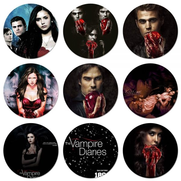 58mm The Vampire Diaries Badge Brooch Pin Accessories For Clothes Backpack Decoration gift - Vampire Diaries Merch