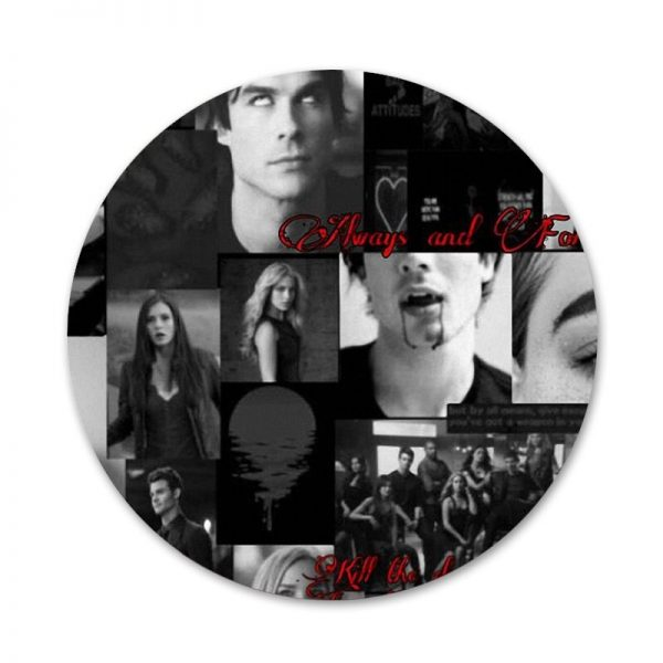 58mm Vampire Diaries Stefan Damon Salvatore Icons Pins Badge Decoration Brooches Metal Badges For Clothes Backpack 5 - Vampire Diaries Merch