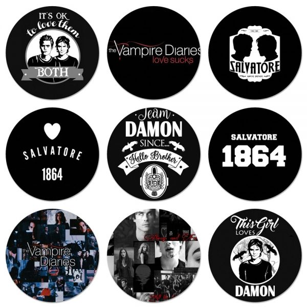 58mm Vampire Diaries Stefan Damon Salvatore Icons Pins Badge Decoration Brooches Metal Badges For Clothes Backpack - Vampire Diaries Merch