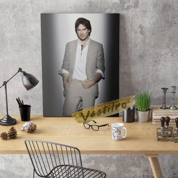 Damon Salvatore Poster Fictional Character Painting Handsome Man Art Prints The Vampire Diaries Role Wall Picture 3 - Vampire Diaries Merch