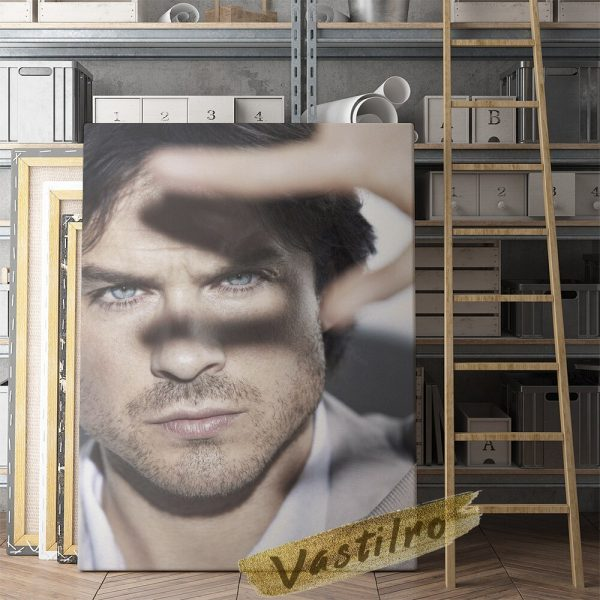Damon Salvatore Poster Fictional Character Painting Handsome Man Art Prints The Vampire Diaries Role Wall Picture 4 - Vampire Diaries Merch