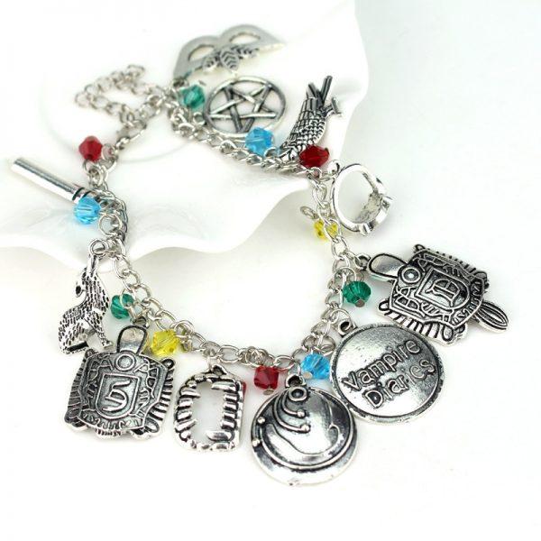 HEYu Vampire Diaries Crystal Beads Charm Alloy Bracelet Bangle Wristlet Elena Stefan Damon Fandom Gift For 1 - Vampire Diaries Merch