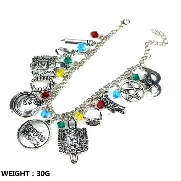 HEYu Vampire Diaries Crystal Beads Charm Alloy Bracelet Bangle Wristlet Elena Stefan Damon Fandom Gift For 2 - Vampire Diaries Merch