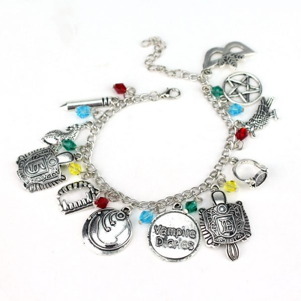 HEYu Vampire Diaries Crystal Beads Charm Alloy Bracelet Bangle Wristlet Elena Stefan Damon Fandom Gift For 3 - Vampire Diaries Merch