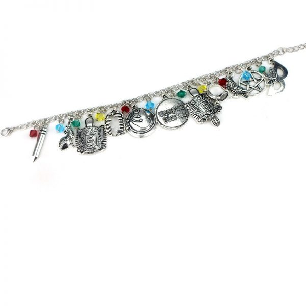 HEYu Vampire Diaries Crystal Beads Charm Alloy Bracelet Bangle Wristlet Elena Stefan Damon Fandom Gift For 4 - Vampire Diaries Merch