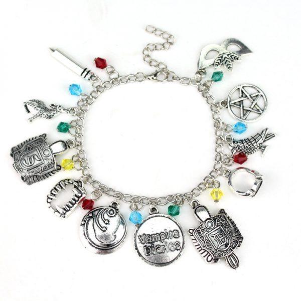 HEYu Vampire Diaries Crystal Beads Charm Alloy Bracelet Bangle Wristlet Elena Stefan Damon Fandom Gift For - Vampire Diaries Merch