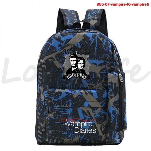 High Quality The Vampire Diaries Backpack For Teenage Girls Boys Book Bags 2Pcs Set Canvas School 2 - Vampire Diaries Merch