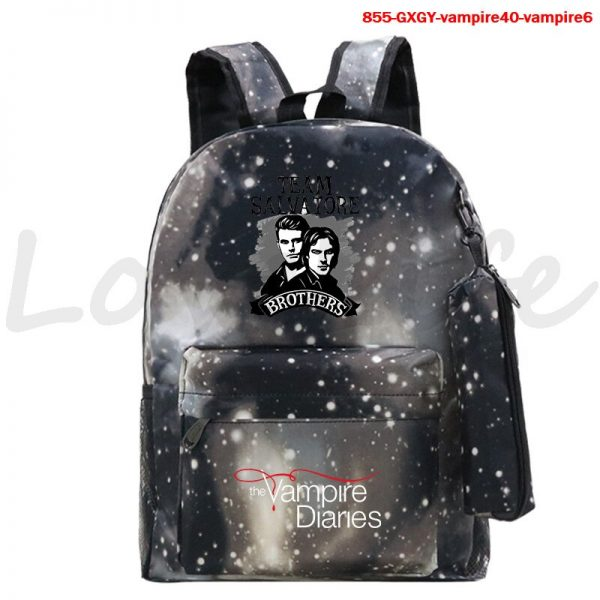 High Quality The Vampire Diaries Backpack For Teenage Girls Boys Book Bags 2Pcs Set Canvas School 3 - Vampire Diaries Merch