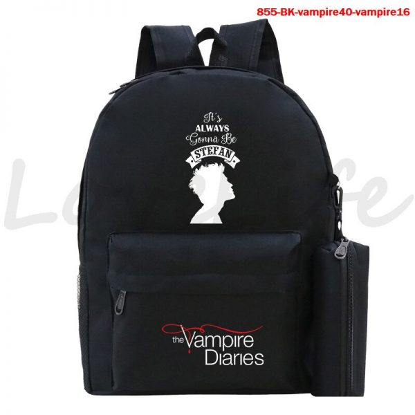 High Quality The Vampire Diaries Backpack For Teenage Girls Boys Book Bags 2Pcs Set Canvas School 4 - Vampire Diaries Merch