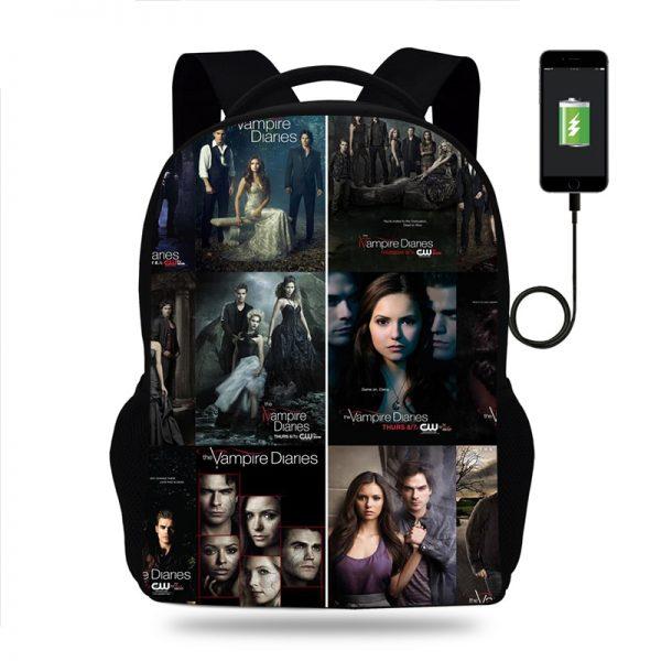 Hot The Vampire Diaries Backpack for Boy Girls Teenager School Bags Children Student Knapsack Men Women - Vampire Diaries Merch