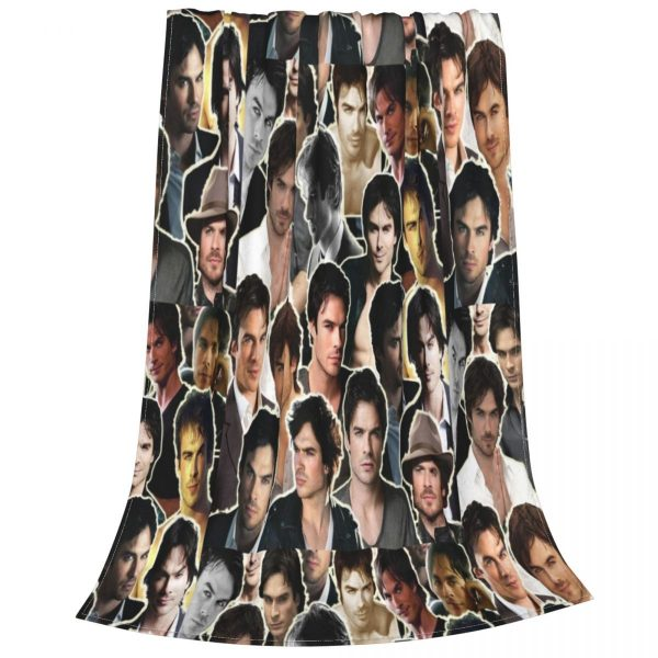 Ian Somerhalder Damon Blanket Fleece Textile Decor The Vampire Diaries Super Soft Throw Blanket for Sofa 2 - Vampire Diaries Merch