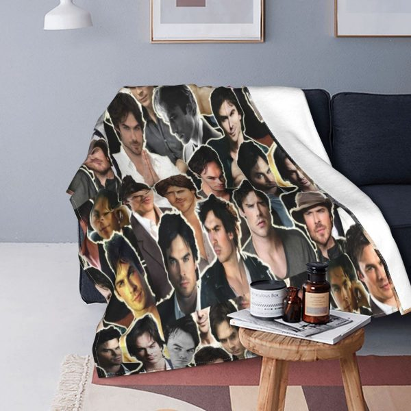 Ian Somerhalder Damon Blanket Fleece Textile Decor The Vampire Diaries Super Soft Throw Blanket for Sofa - Vampire Diaries Merch