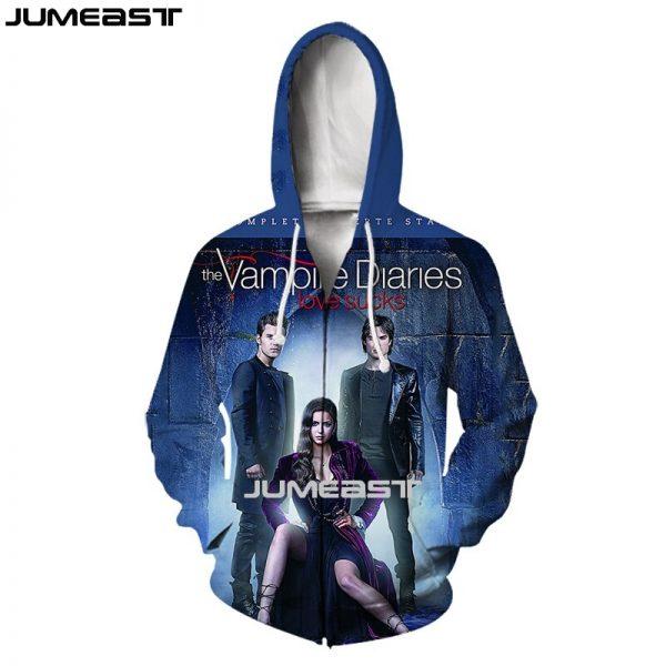 Jumeast Brand Men Women 3D Printed The Vampire Diaries Long Sleeve Jacket Sport Pullover Fashion Spring - Vampire Diaries Merch
