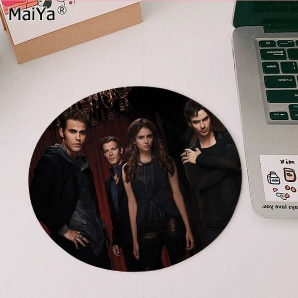 MaiYa The Vampire Diaries Stefan Damon Salvatore gamer play mats round gaming Mousepad Anti Slip Laptop 1 - Vampire Diaries Merch