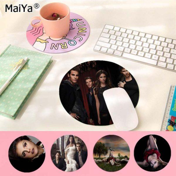 MaiYa The Vampire Diaries Stefan Damon Salvatore gamer play mats round gaming Mousepad Anti Slip Laptop - Vampire Diaries Merch
