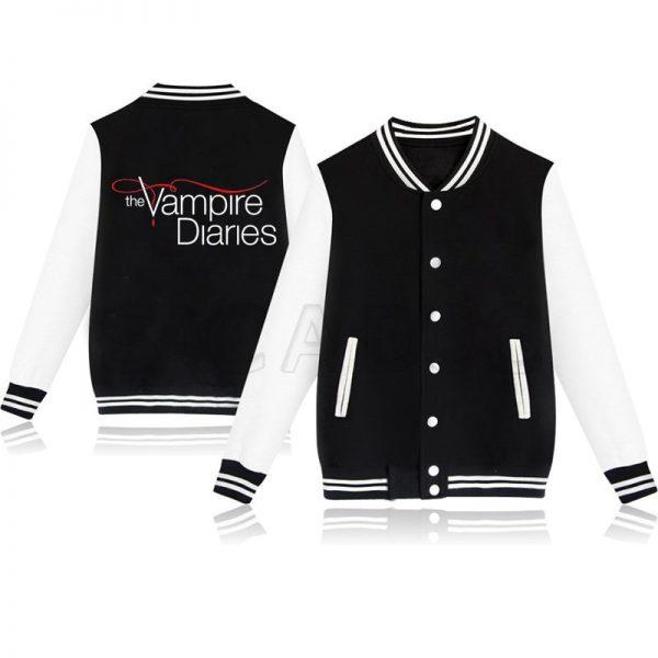 Men Women The Vampire Diaries Jacket Lovers Jacket Winter Elena Damon Stefan Print Baseball Jerseys Man 1 - Vampire Diaries Merch