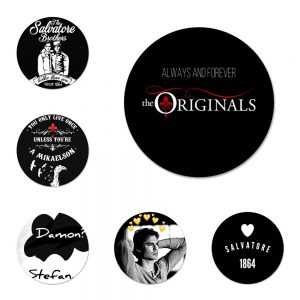 New ArrivalThe Vampire Diaries Damon Salvatore Badge Brooch Pin Accessories For Clothes Backpack Decoration gift - Vampire Diaries Merch