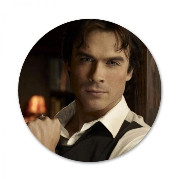 New ArrivalThe Vampire Diaries Ian Somerhalder Badge Brooch Pin Accessories For Clothes Backpack Decoration gift 2 - Vampire Diaries Merch