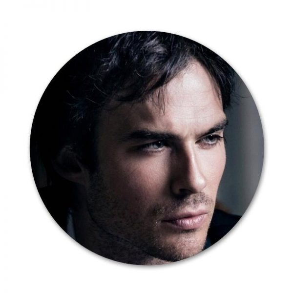 New ArrivalThe Vampire Diaries Ian Somerhalder Badge Brooch Pin Accessories For Clothes Backpack Decoration gift 3 - Vampire Diaries Merch
