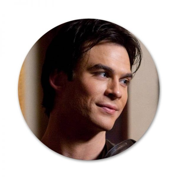 New ArrivalThe Vampire Diaries Ian Somerhalder Badge Brooch Pin Accessories For Clothes Backpack Decoration gift 4 - Vampire Diaries Merch