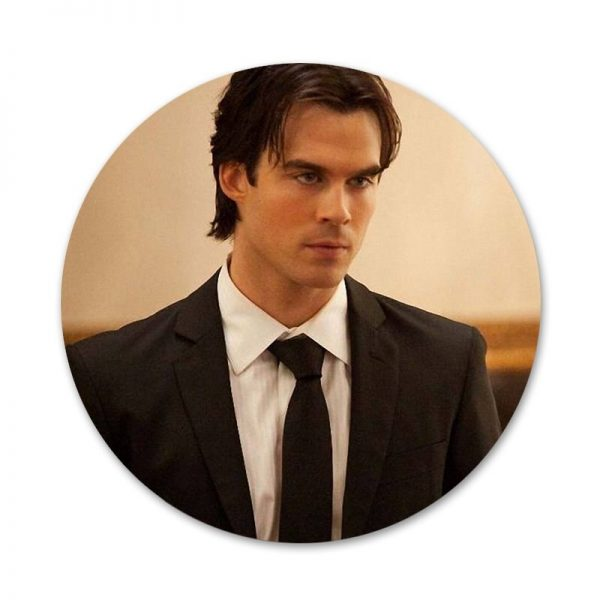 New ArrivalThe Vampire Diaries Ian Somerhalder Badge Brooch Pin Accessories For Clothes Backpack Decoration gift 5 - Vampire Diaries Merch