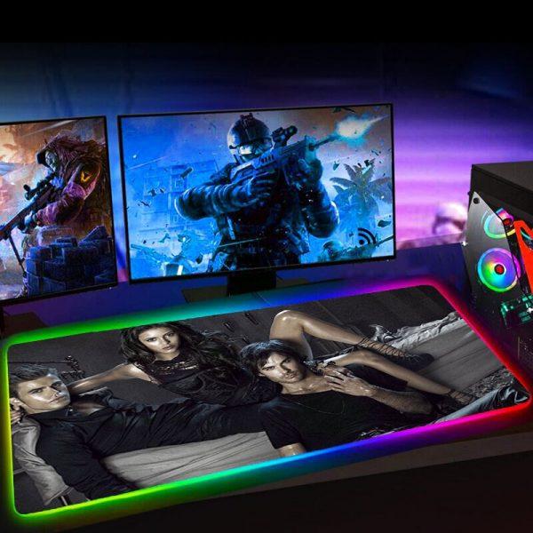 Rgb 35x60 XL The Vampire Diaries TV Anime Computer Accessories XXL Mause Pad LED Backlit Mat 4 - Vampire Diaries Merch