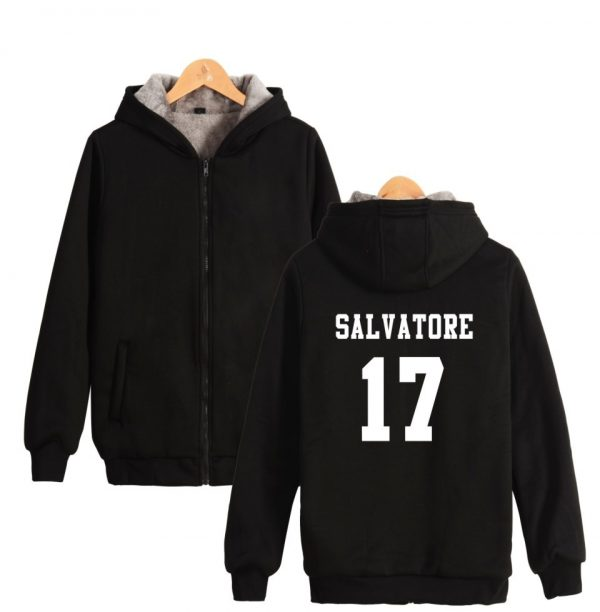 Salvatore 17 Vampire Diaries Mystic Falls Timberwolves Super Warm Hoodie Winter Thicken Fleece Hoodies Sweatshirt Casual 1 - Vampire Diaries Merch