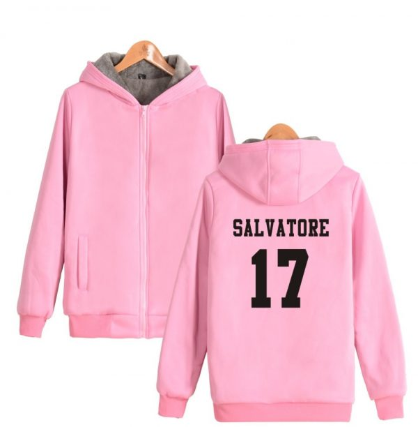 Salvatore 17 Vampire Diaries Mystic Falls Timberwolves Super Warm Hoodie Winter Thicken Fleece Hoodies Sweatshirt Casual 4 - Vampire Diaries Merch
