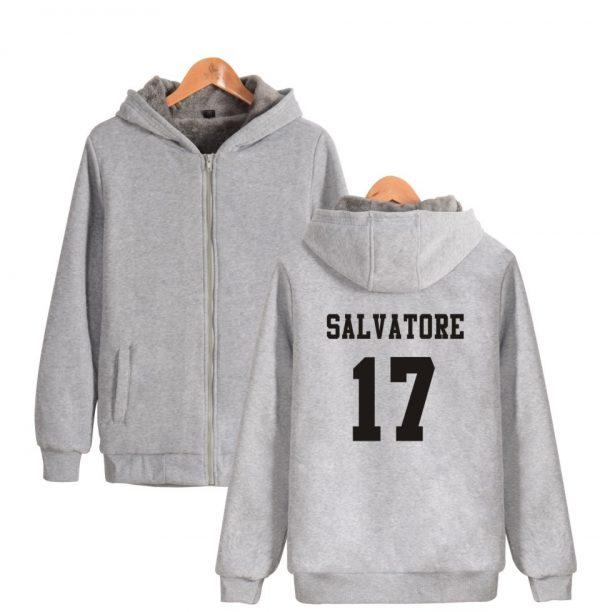 Salvatore 17 Vampire Diaries Mystic Falls Timberwolves Super Warm Hoodie Winter Thicken Fleece Hoodies Sweatshirt Casual - Vampire Diaries Merch