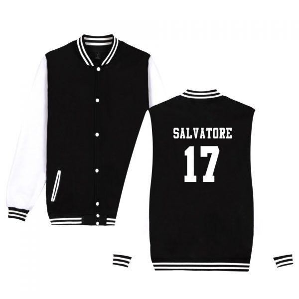 Salvatore 17 Vampire Diaries Mystic Falls Timberwolves Sweatshirt Baseball Jacket Women Men Uniform Coat Winter Jackets 1 - Vampire Diaries Merch