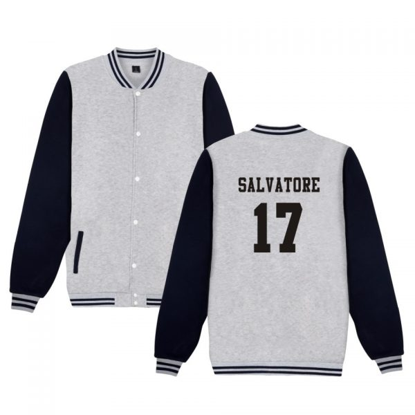 Salvatore 17 Vampire Diaries Mystic Falls Timberwolves Sweatshirt Baseball Jacket Women Men Uniform Coat Winter Jackets 3 - Vampire Diaries Merch