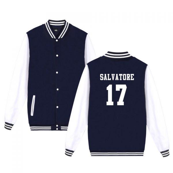 Salvatore 17 Vampire Diaries Mystic Falls Timberwolves Sweatshirt Baseball Jacket Women Men Uniform Coat Winter Jackets - Vampire Diaries Merch