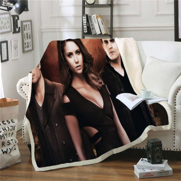 The Vampire Diaries 3D Print Blanket for Beds Hiking Picnic Two layer Thick Quilt Bedspread Sherpa 2 - Vampire Diaries Merch