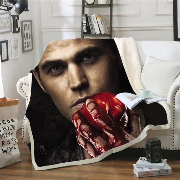 The Vampire Diaries 3D Print Blanket for Beds Hiking Picnic Two layer Thick Quilt Bedspread Sherpa 3 - Vampire Diaries Merch