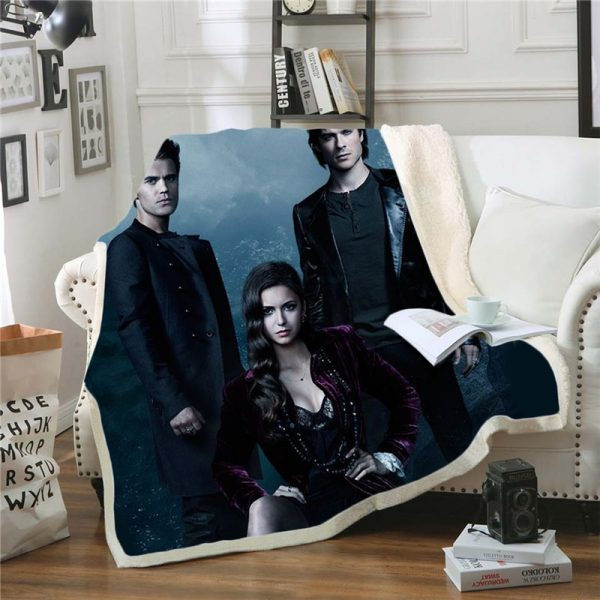 The Vampire Diaries 3D Print Blanket for Beds Hiking Picnic Two layer Thick Quilt Bedspread Sherpa 4 - Vampire Diaries Merch