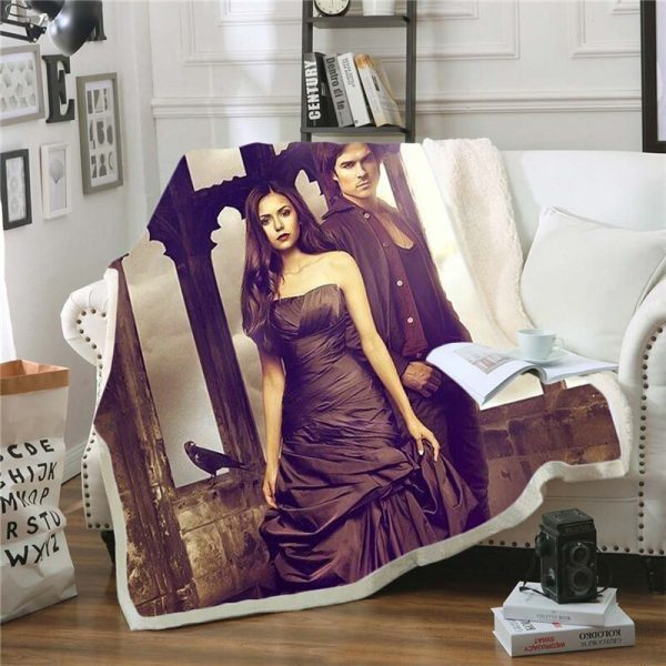 The Vampire Diaries 3D Print Blanket for Beds Hiking Picnic Two layer Thick Quilt Bedspread Sherpa 5 - Vampire Diaries Merch