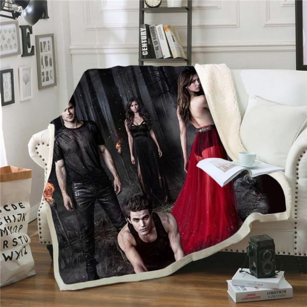 The Vampire Diaries 3D Print Blanket for Beds Hiking Picnic Two layer Thick Quilt Bedspread Sherpa - Vampire Diaries Merch