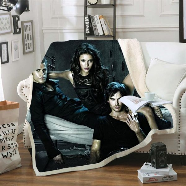 The Vampire Diaries 3d printed fleece blanket for Beds Hiking Picnic Thick Quilt Bedspread Sherpa Throw 11 - Vampire Diaries Merch