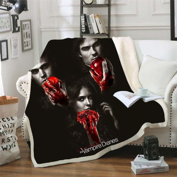The Vampire Diaries 3d printed fleece blanket for Beds Hiking Picnic Thick Quilt Bedspread Sherpa Throw 2 - Vampire Diaries Merch