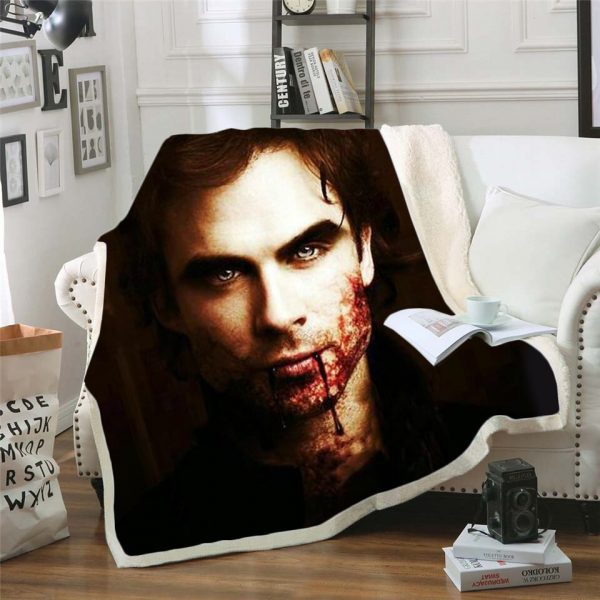 The Vampire Diaries 3d printed fleece blanket for Beds Hiking Picnic Thick Quilt Bedspread Sherpa Throw 3 - Vampire Diaries Merch