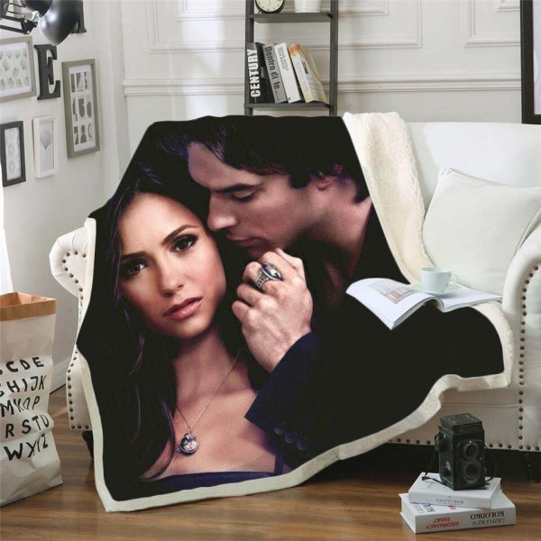 The Vampire Diaries 3d printed fleece blanket for Beds Hiking Picnic Thick Quilt Bedspread Sherpa Throw 4 - Vampire Diaries Merch