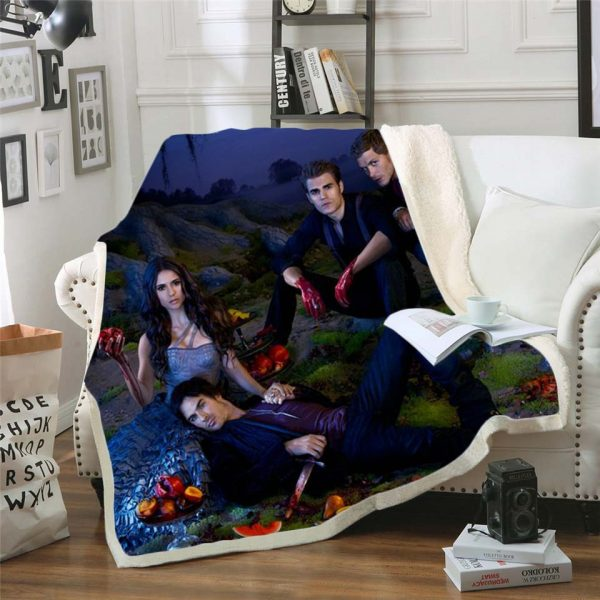 The Vampire Diaries 3d printed fleece blanket for Beds Hiking Picnic Thick Quilt Bedspread Sherpa Throw - Vampire Diaries Merch