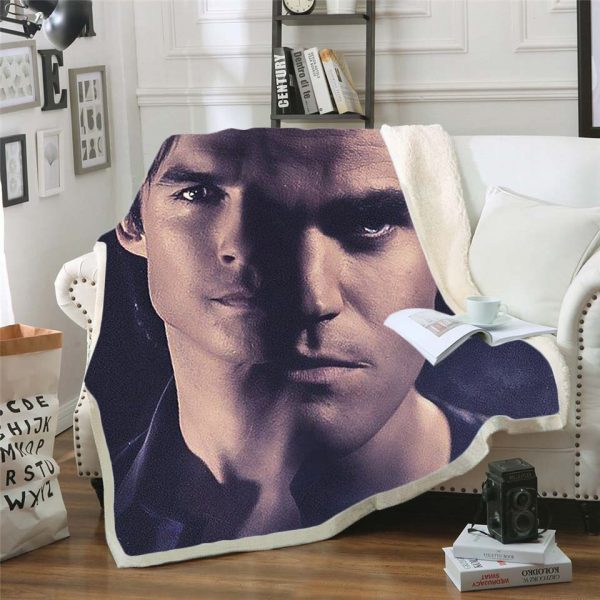 The Vampire Diaries 3d printed fleece blanket for Beds Hiking Picnic Thick Quilt Bedspread Sherpa Throw 7 - Vampire Diaries Merch