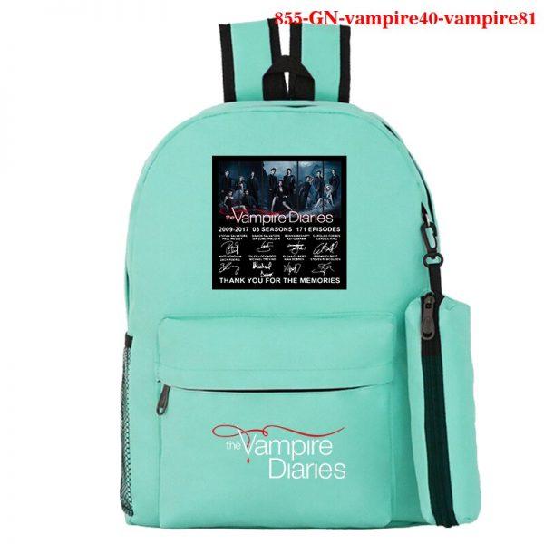 The Vampire Diaries Backpack Girls School Bag with Pencil Case Teenager Kids Purse Bag The Vampire 1 - Vampire Diaries Merch