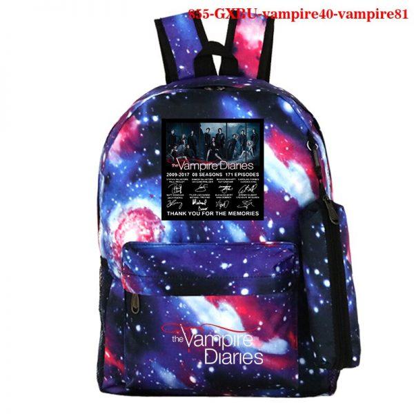 The Vampire Diaries Backpack Girls School Bag with Pencil Case Teenager Kids Purse Bag The Vampire 3 - Vampire Diaries Merch